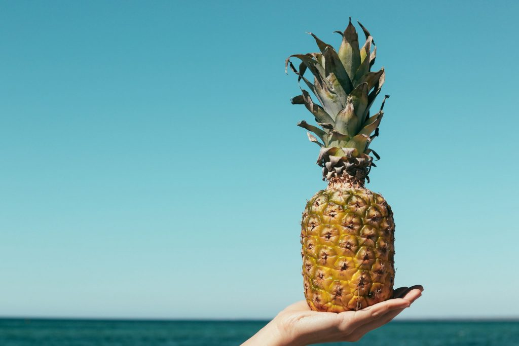 pineapple held on the palm