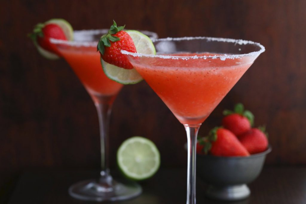 strawberry-martinis-on-a-table