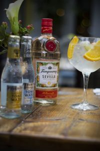 tanqueray sevilla gin tonic in a glass with bottles beside