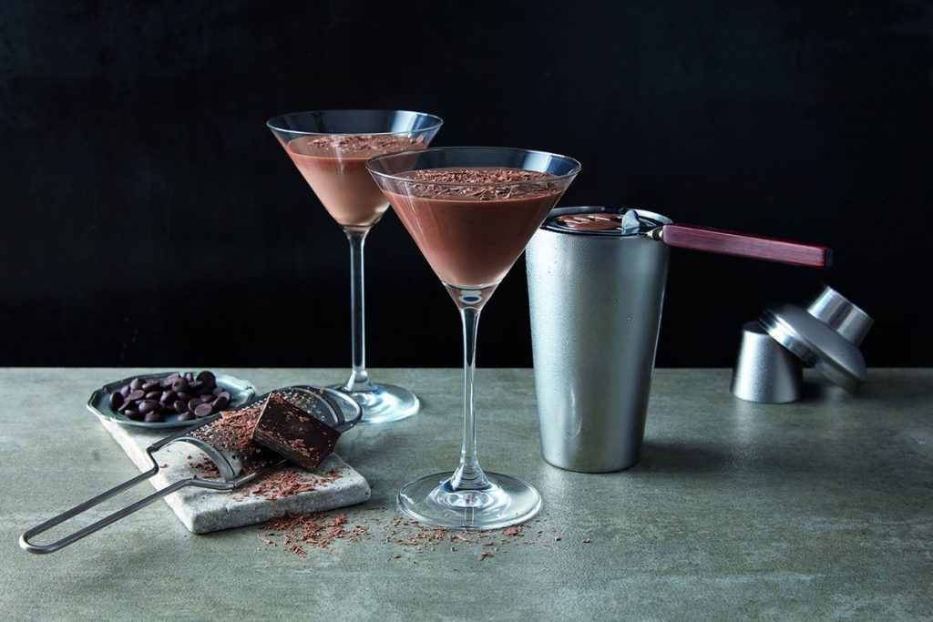 two-chocolate-martini-on-table-with-garnish