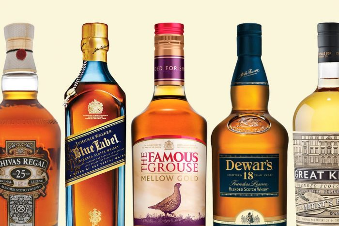 Whiskey brands bottles