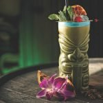 zombie drink in a tiki mug on a table